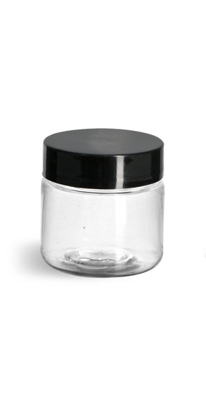 1 oz Clear Single Wall Plastic Jar with Your Choice of Lid