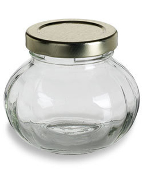 Nakpunar 4 oz Faceted Round Glass Storage Jar with Gold plastisol lined lid