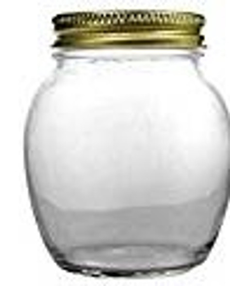 12 fl oz globe spherical round glass jar with gold lid