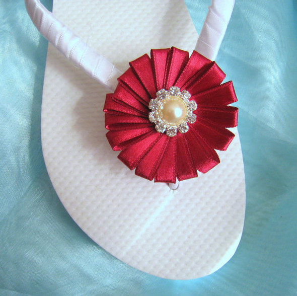Bridal Flip Flops - White and Burgundy / Wedding Flip Flops / Bridesmaid , Bridal Shower, Flower Girl, Birthday Party, Favor