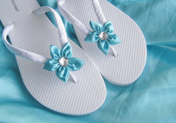 Aqua Blue Floral Bridesmaids , Bridal Wedding Flip Flops , Bridal Shower, Flower Girl, Birthday Party, Favor