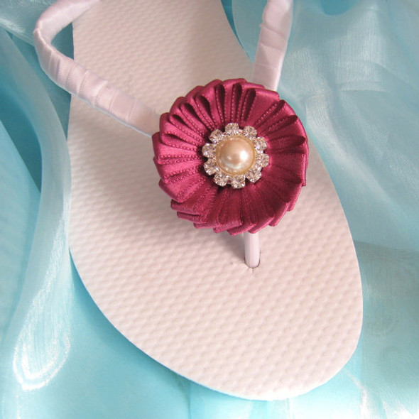 Amaranth Red Beach Wedding Flip Flops / Bridal Flip Flops / Bridesmaid , Bridal Shower, Flower Girl, Birthday Party, Favor