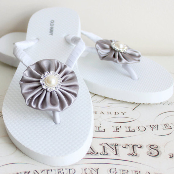 Moonlight Wedding Flip Flops. Gray satin with Rhinestone and Pearls