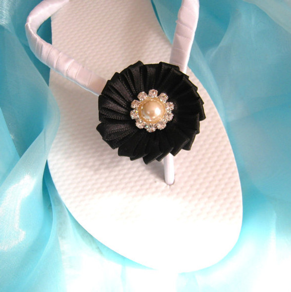 Decorated Bridal Flip Flops / Black Wedding Flip Flops / Bridesmaid gifts