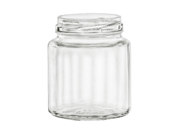 6 oz Faceted beveled glass jars with lids