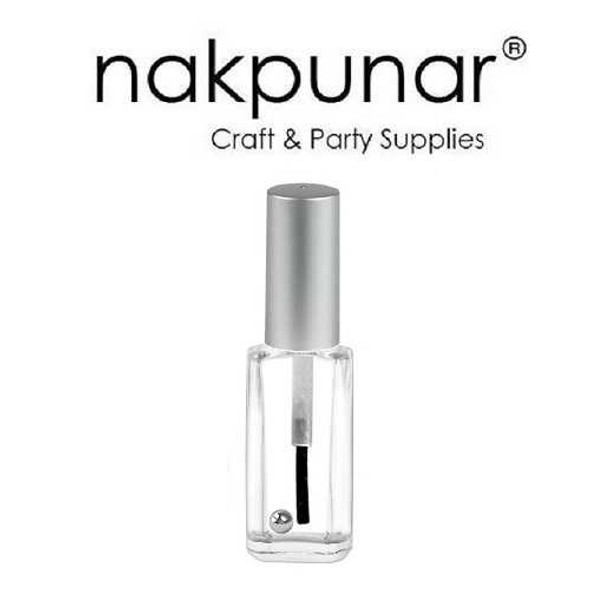 Nakpunar oblong nail polish bottle with brush, mixing ball and silver cap