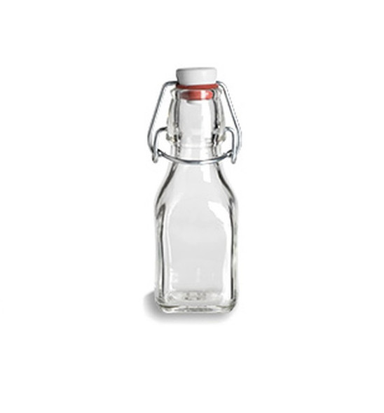 4.25 oz clear Square Swing Top Glass Bottle