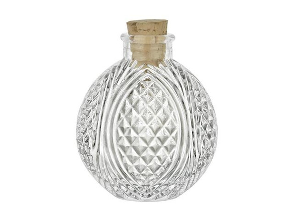 Nakpunar 4 oz Spherical Crystal Cut  Bottle with size 9 cork