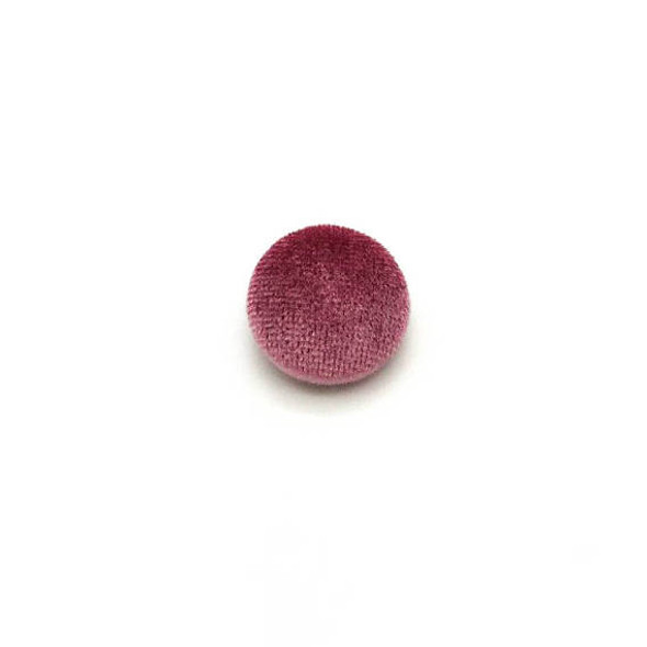 "Lot of 10, 5/8"" (15 mm) Puce Pink Velvet Button"