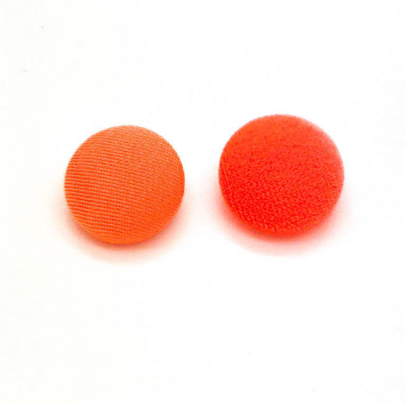 "Lot of 10, 5/8"" (15 mm)  Orange Velvet Button"
