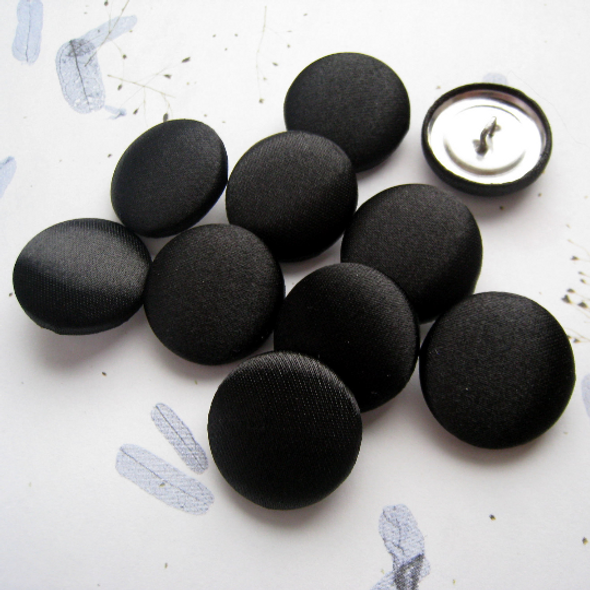 15 pcs, Black Satin, Bridal Buttons 7/8 inch (23 mm)