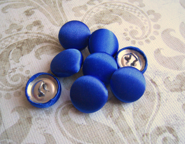 "10 pcs, Royal Blue Satin Buttons - Choose from 7 Different Size from 1/2"" to 2"""