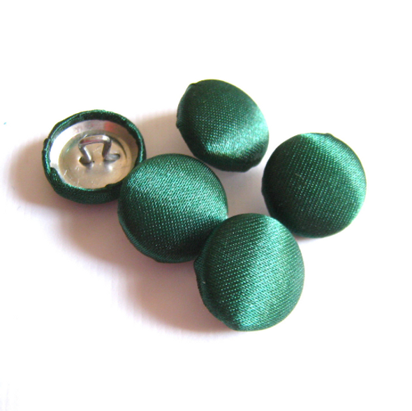 "Lot of 10, 3/4"" (19 mm)  Hunter Green Satin Buttons"