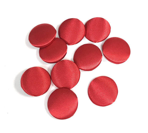 "10 pcs, True Red Satin Buttons - Choose from 7 Different Size from 1/2"" to 2"""