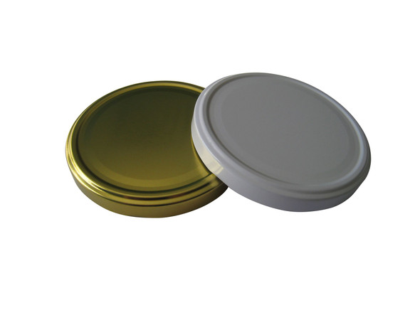 100TW Gold metal lids with plastisol liner for glass jars