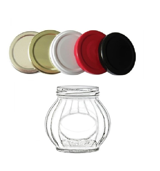 10 oz Round Faceted Glass Jar with Color Choice of Lid