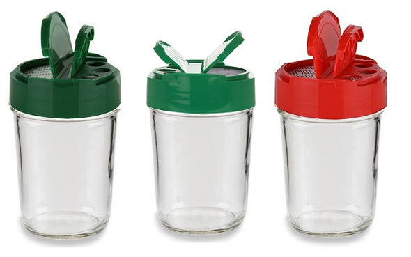 70/450 Mason Jar Spice Dispenser Cap - Red, Green - Regular mouth