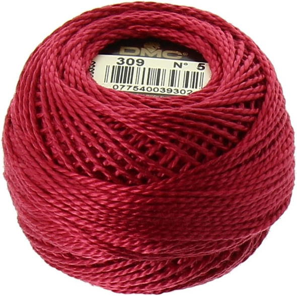 DMC #5 Perle, Pearl Cotton Thread Ball | 309 Dark Rose (116 5-309)