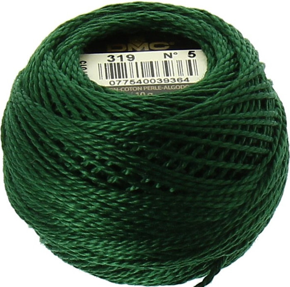 DMC #5 Perle, Pearl Cotton Thread Ball | 319 Very Dark Pistachio Green (116 5-319)