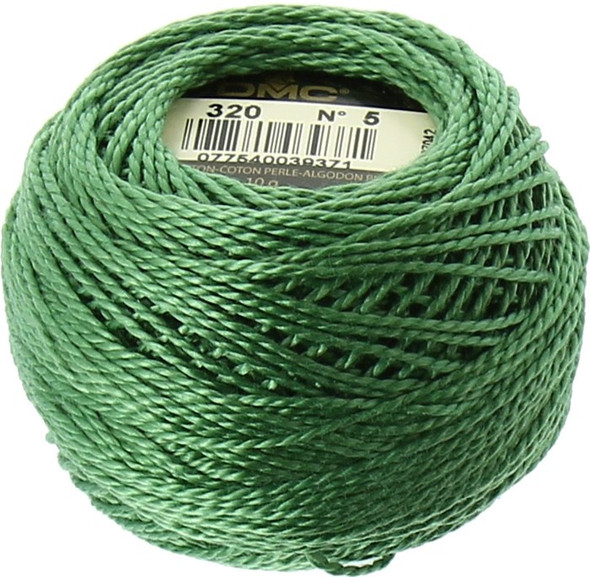 DMC #5 Perle, Pearl Cotton Thread Ball | 320 Medium Pistachio Green (116 5-320)