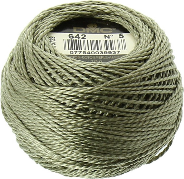 DMC #5 Perle, Pearl Cotton Thread Ball | 642 Dark Beige Gray (116 5-642)