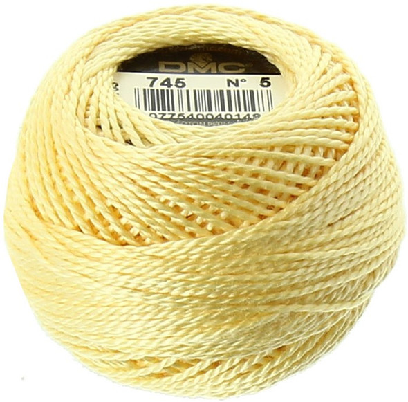 DMC #5 Perle Cotton Thread | 745 Light Pale Yellow (116 5-745)
