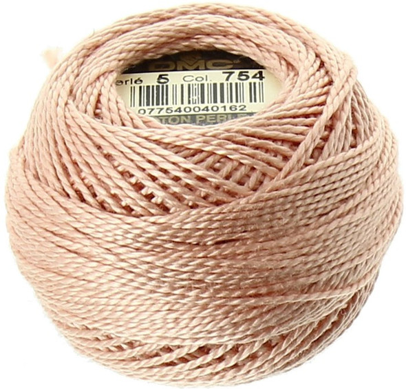 DMC #5 Perle, Pearl Cotton Thread Ball | 754 Light Peach Pink (116 5-754)