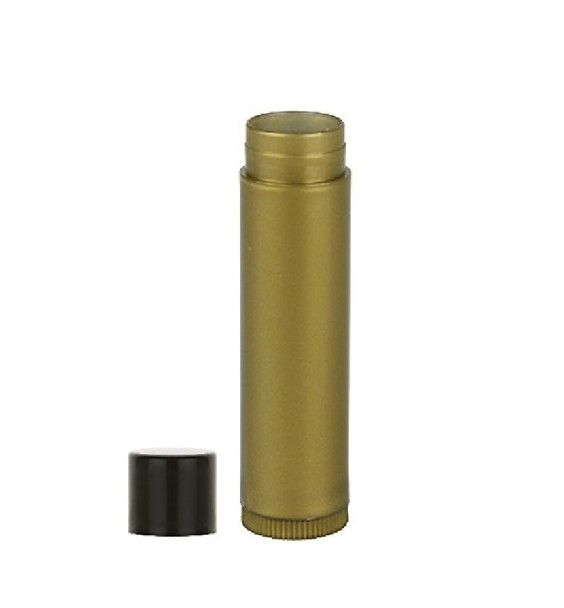 Gold Lip Balm Tube with Black Cap