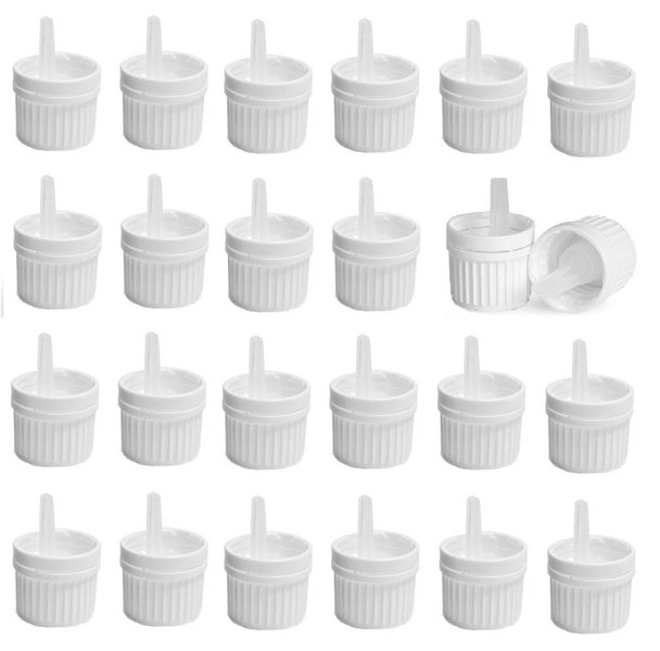 12 pcs 18/415 White Plastic Tamper Evident Caps with Orifice Droppers for Essential Oil Bottles