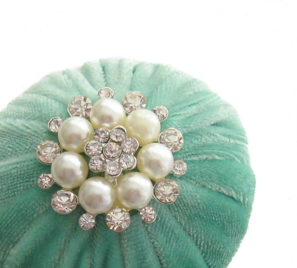 Mint Green Small Velvet Sewing Pincushion filled with Emery Sand and Decoration