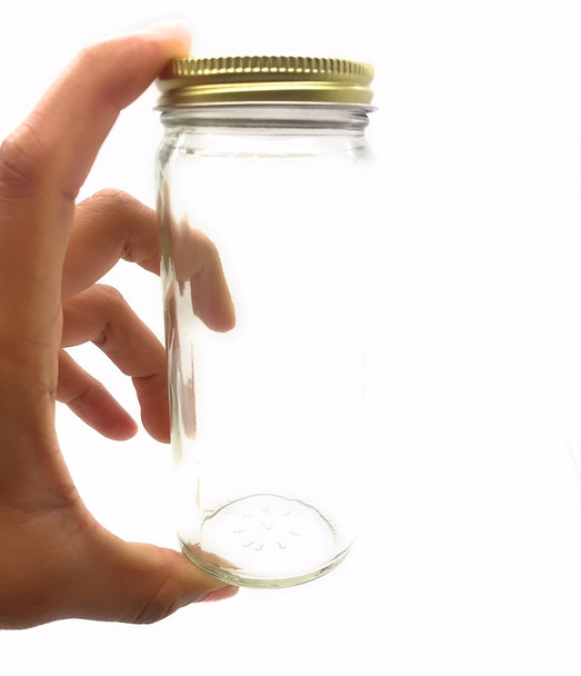 8 oz Glass Canning Jars with Gold Lid - Half Pint, Paragon Style