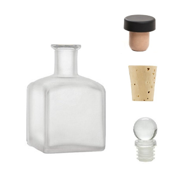 7 oz Square Frosted Glass Bottle with Natural Cork, Glass or T-Bar Stopper (210 ml)