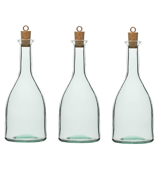 3 pcs 8.5 oz Tinted Gotica Glass Bottle with Cork and Glass Stopper - Made in Italy