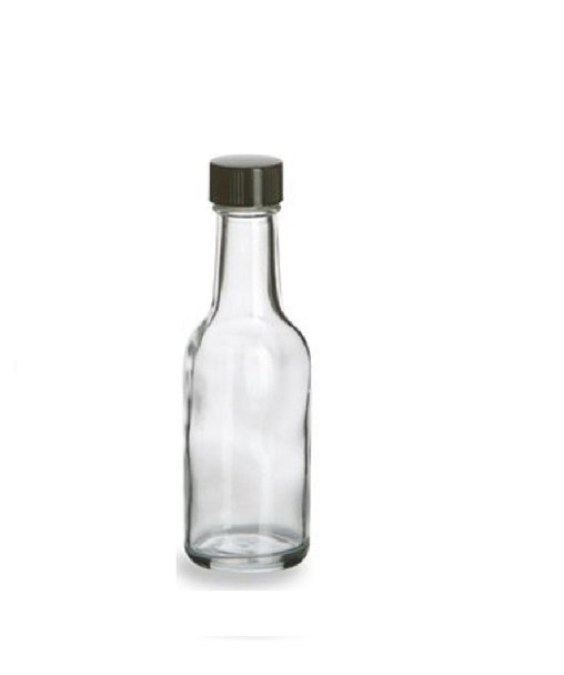 60 ml Round Liquor Glass bottle with Black Cap (2 oz.)