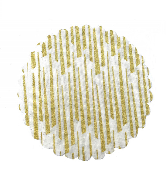 White & Gold Stripes Jar Cover with Hemp Twine or Ribbon Color