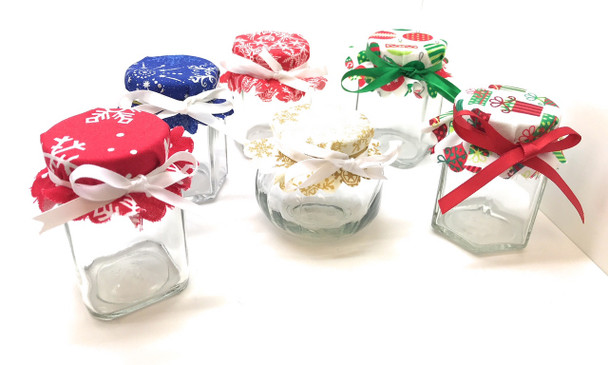 Winter Flakes Jar Cover with Hemp Twine or Ribbon Color