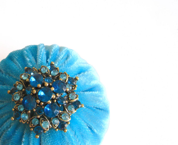 Aqua Emery Pincushions FILLED WITH EMERY SAND AND DECORATED WITH RHINESTONE