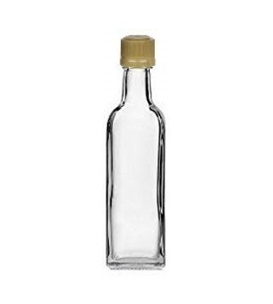 Nakpunar 60 ml Clear Glass Plastic Mini Marasca Square Liquor Bottles with 18TE Tamper Evident Caps