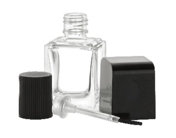Nakpunar rectangular nail polish bottle with brush, mixing ball with black shiny cap and inner cap