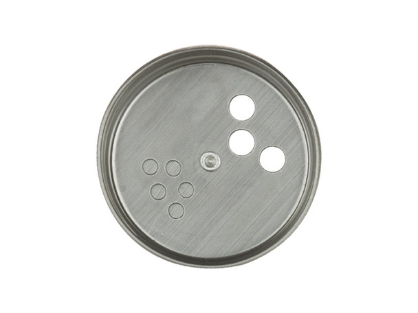 43/400 finish stainless steel metal twist-top shaker style spice dispensing cap has two different size holes on them.