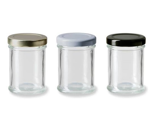 2 oz Straight Side Apothecary Profile Glass Jar with Gold Plastisol Lined Lid