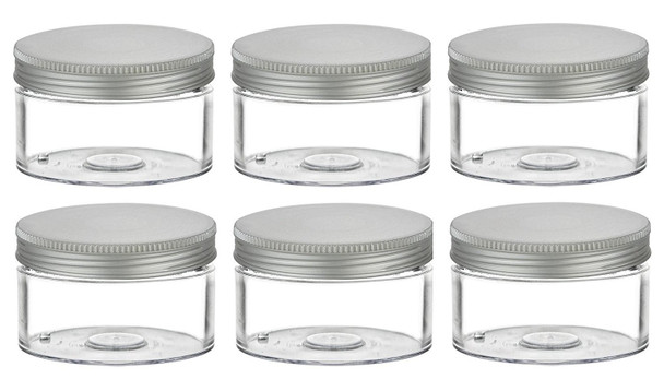 1 pcs 6.75 oz Low Profile Clear Single Wall Plastic Jar with Liner and Silver Cap