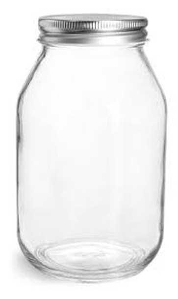 32 oz Clear Glass Mayo/ Economy Jars w/ Silver Metal Plastisol Lined Caps