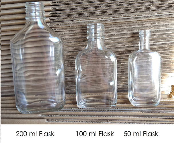 50 ml  Flask Glass Liquor bottle with Cap - Flask