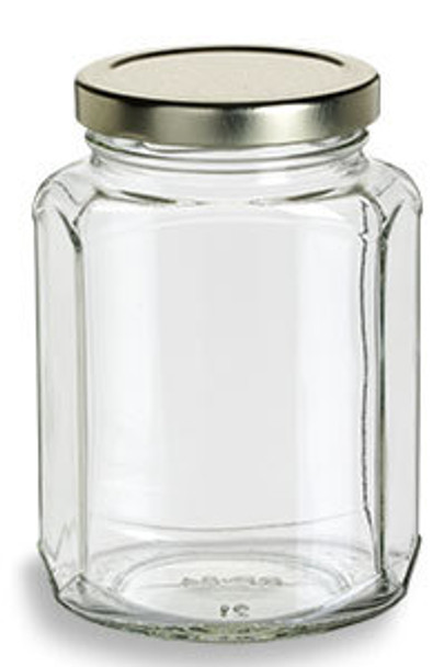 12 oz Oval Hexagon Glass Jar with Lid