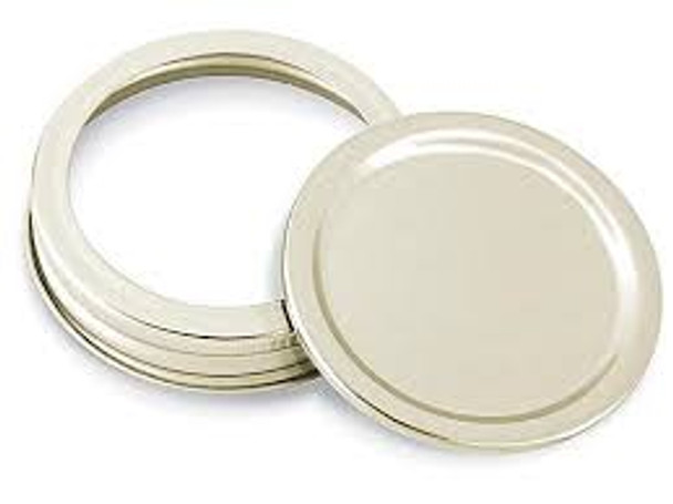 12 pcs Gold Color Regular Mouth Jar Lids - Disc Lids and Ring Bands 70/450