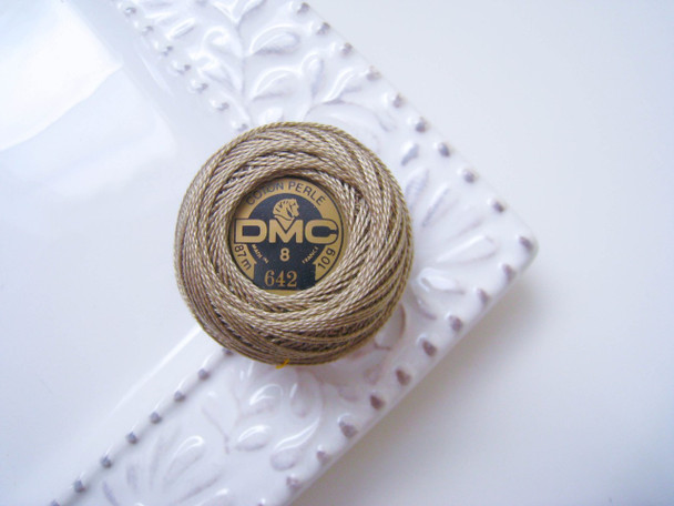 DMC Perle Cotton Embroidery Thread Balls Size 8 Dark Beige Gray 642