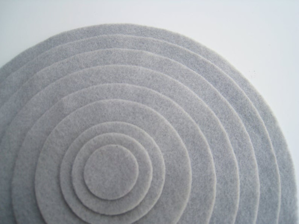Gray felt circles from 1 inch to 8 inches