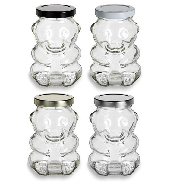 Glass Bear Jar with Lid