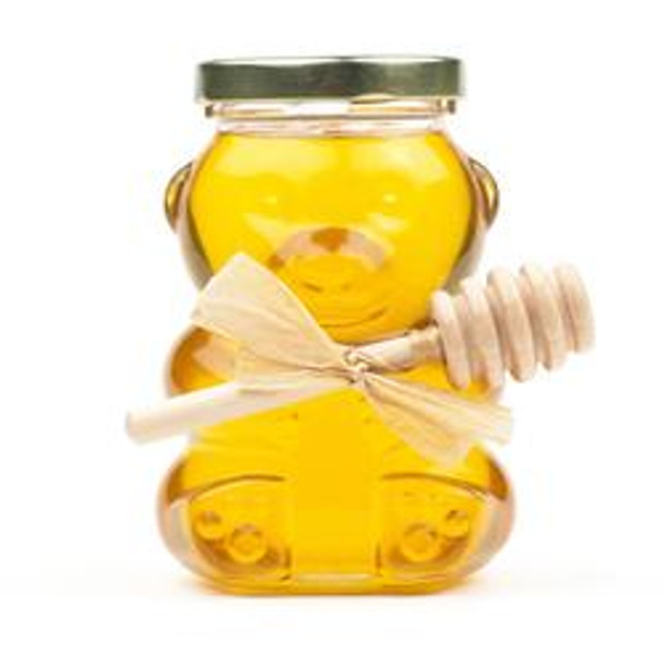 Glass Bear Jar with Honey and Honey Dipper